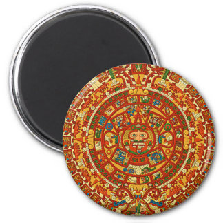 Aztec Calendar Stone or Sun Stone of Mexico. 2 Inch Round Magnet