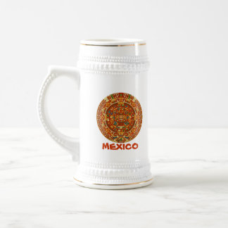 Aztec Calendar Stone or Sun Stone of Mexico. Beer Stein