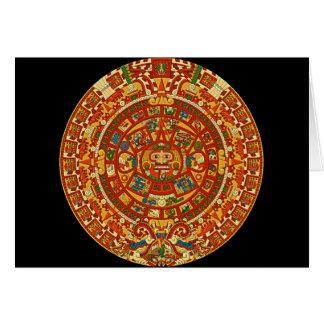 Aztec Calendar Stone or Sun Stone of Mexico. Cards