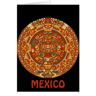 Aztec Calendar Stone or Sun Stone of Mexico. Greeting Cards