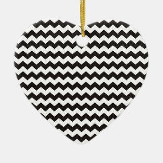Aztec Chevron black and white zigzag stripes Ceramic Ornament
