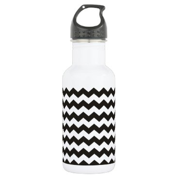 Aztec Themed Aztec Chevron black and white zigzag stripes Water Bottle