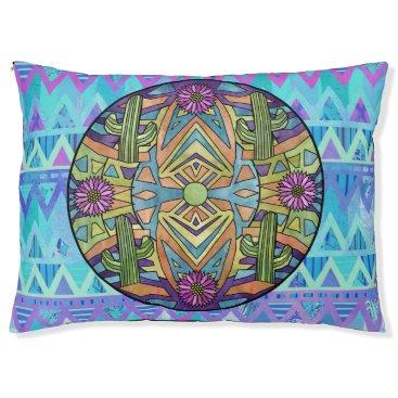 Aztec Themed Aztec Chevron Mandala Dog Bed Cacti Flowers Blue