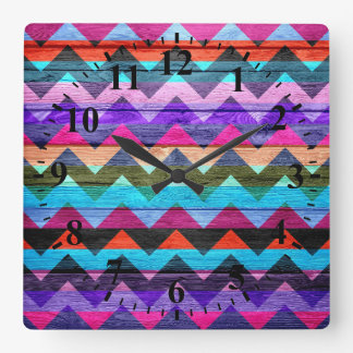 Aztec Chevron Pattern Abstract Wood Square Wall Clock