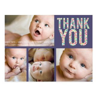 Aztec Chevron Photo Baby Thank You Post Card