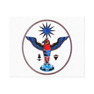 aztec clear style eagle sun symbols pagan design.p canvas prints