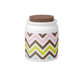 Aztec Colors - Chic Chevron Zigzag Pattern Candy Jar