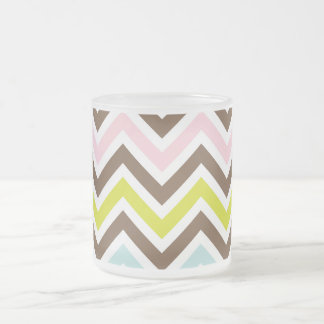 Aztec Colors - Chic Chevron Zigzag Pattern Frosted Glass Coffee Mug