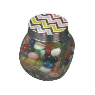 Aztec Colors - Chic Chevron Zigzag Pattern Glass Jars