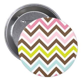 Aztec Colors - Chic Chevron Zigzag Pattern Pinback Button