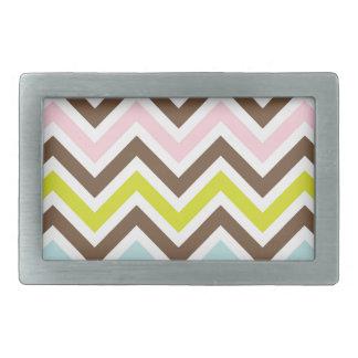 Aztec Colors - Chic Chevron Zigzag Pattern Rectangular Belt Buckle