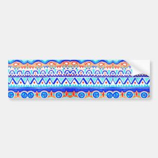 Aztec Colourful Blue Orange And White Pattern Bumper Sticker