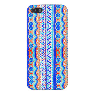 Aztec Colourful Blue Orange And White Pattern Case For iPhone SE/5/5s