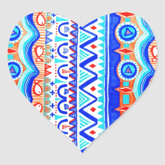 Aztec Colourful Blue Orange And White Pattern Heart Sticker