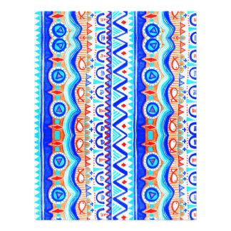 Aztec Colourful Blue Orange And White Pattern Letterhead