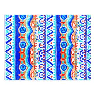 Aztec Colourful Blue Orange And White Pattern Postcard