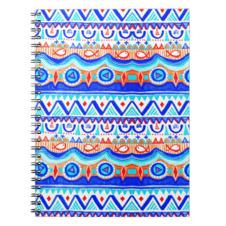 Aztec Colourful Blue Orange And White Pattern Spiral Notebook