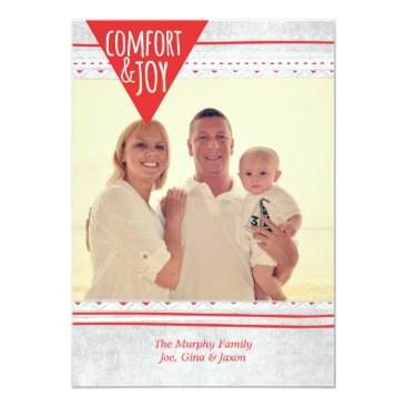Aztec Themed Aztec Comfort & Joy Christmas Photo Card, Red/Grey Card