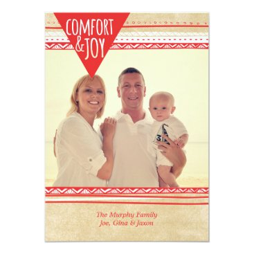 Aztec Themed Aztec Comfort & Joy Christmas Photo Card, Red/Tan Card