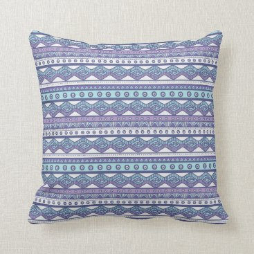 Aztec Themed Aztec Cool Purple Blue White Pattern Throw Pillow