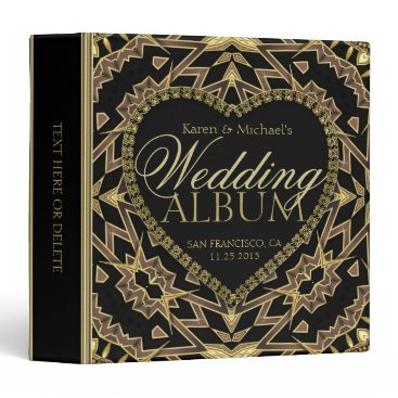 Aztec Themed Aztec Deco Black and Gold Wedding Album Binder
