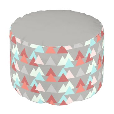 Aztec Themed Aztec design, aqua rose salmon on gray pouf
