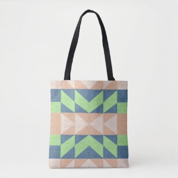 Aztec Themed Aztec Design Tote Bag Brown Green and blue