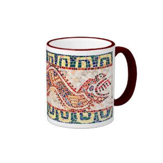 Aztec Dragon Mosaic Ringer Mug
