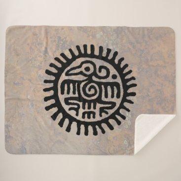 Aztec Themed Aztec Eagle Sherpa Blanket