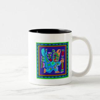 Aztec Eagle Warrior God Two-Tone Coffee Mug