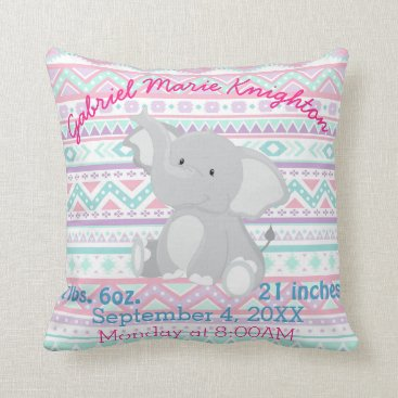Aztec Themed Aztec Elephant Baby Girl Birth Stats Personalized Throw Pillow