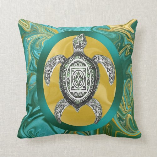 Aztec Emblem Sea Turtle Pillows