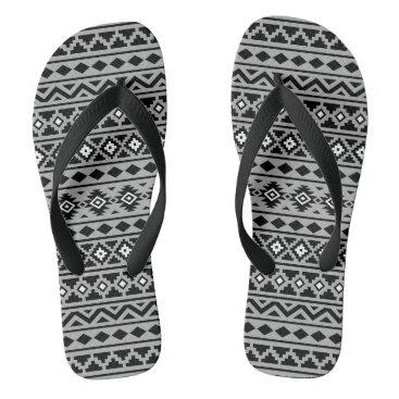 Aztec Themed Aztec Essence Horizontal Ptn II Black White Grey Flip Flops