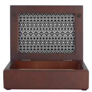 Aztec Essence Horizontal Ptn II Black White Grey Keepsake Box