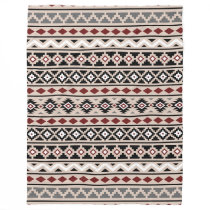 Aztec Essence II Pattern Black White Grey Fleece Blanket