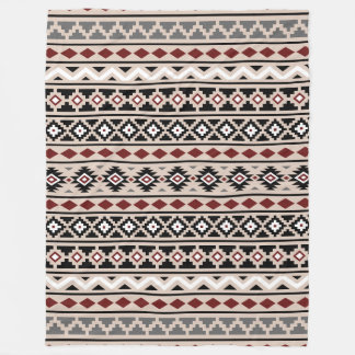Aztec Essence II Pattern Black White Grey Fleece Blanket