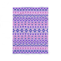 Aztec Essence II Pattern Pinks Blue Purple Fleece Blanket