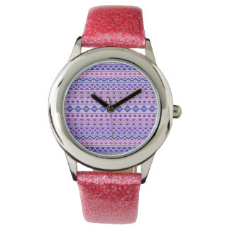 Aztec Essence II Pattern Pinks Blue Purple Watch