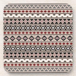 Aztec Essence II Ptn Black White Grey Red Sand Coaster