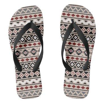 Aztec Themed Aztec Essence II Ptn (H) Black White Grey Red Sand Flip Flops