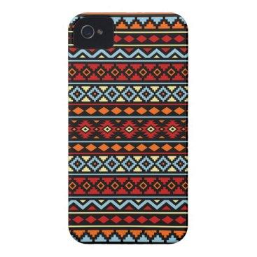 Aztec Themed Aztec Essence II Ptn Red Blue Orange Yellow Blk iPhone 4 Case