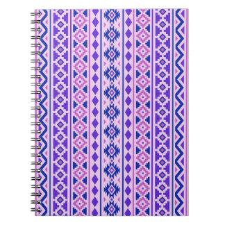 Aztec Essence II Vertical Ptn Pinks Blue Purple Spiral Notebook