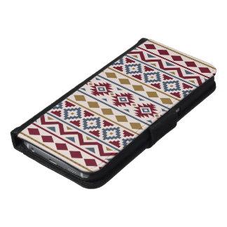 Aztec Essence III Ptn Red Blue Gold Cream Samsung Galaxy S6 Wallet Case