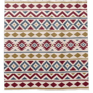 Aztec Essence III Ptn Red Blue Gold Cream Shower Curtain