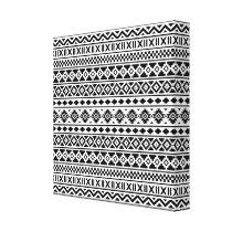 Aztec Essence Pattern Black on White Canvas Print