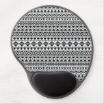 Aztec Essence Pattern Black on White Gel Mouse Mat