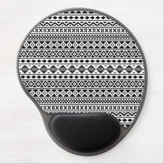 Aztec Essence Pattern Black on White Gel Mouse Pad
