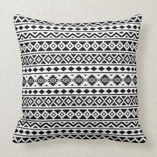 Aztec Essence Pattern II Black on White Pillow