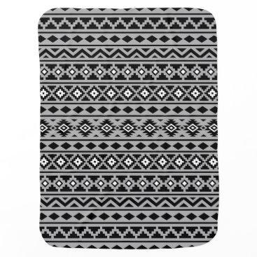 Aztec Themed Aztec Essence Pattern II Black White Grey Baby Blanket