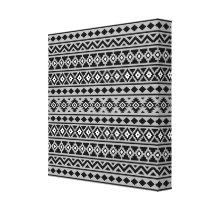 Aztec Essence Pattern II Black White Grey Canvas Print